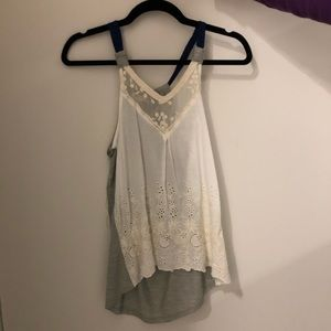 Lace white and grey tank top
